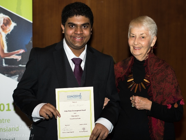 Arties Music Encouragement Award - Gautam Abhyankar, Townsville with Sponsor Margery Jorgensen