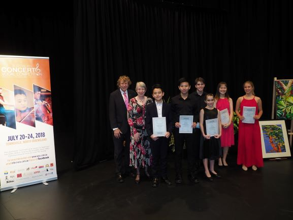 Prizewinners with Adjudicator Piers Lane AO