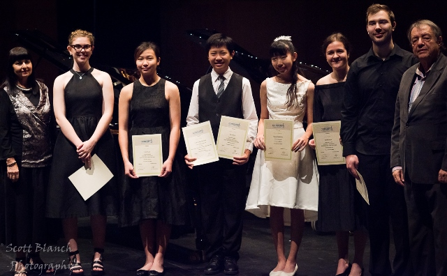 Young Instrumental Award & Placegetters with Christine Pulvirenti, President, Townsville & District Music Teachers' Association and Adjudicator Spiros Rantos