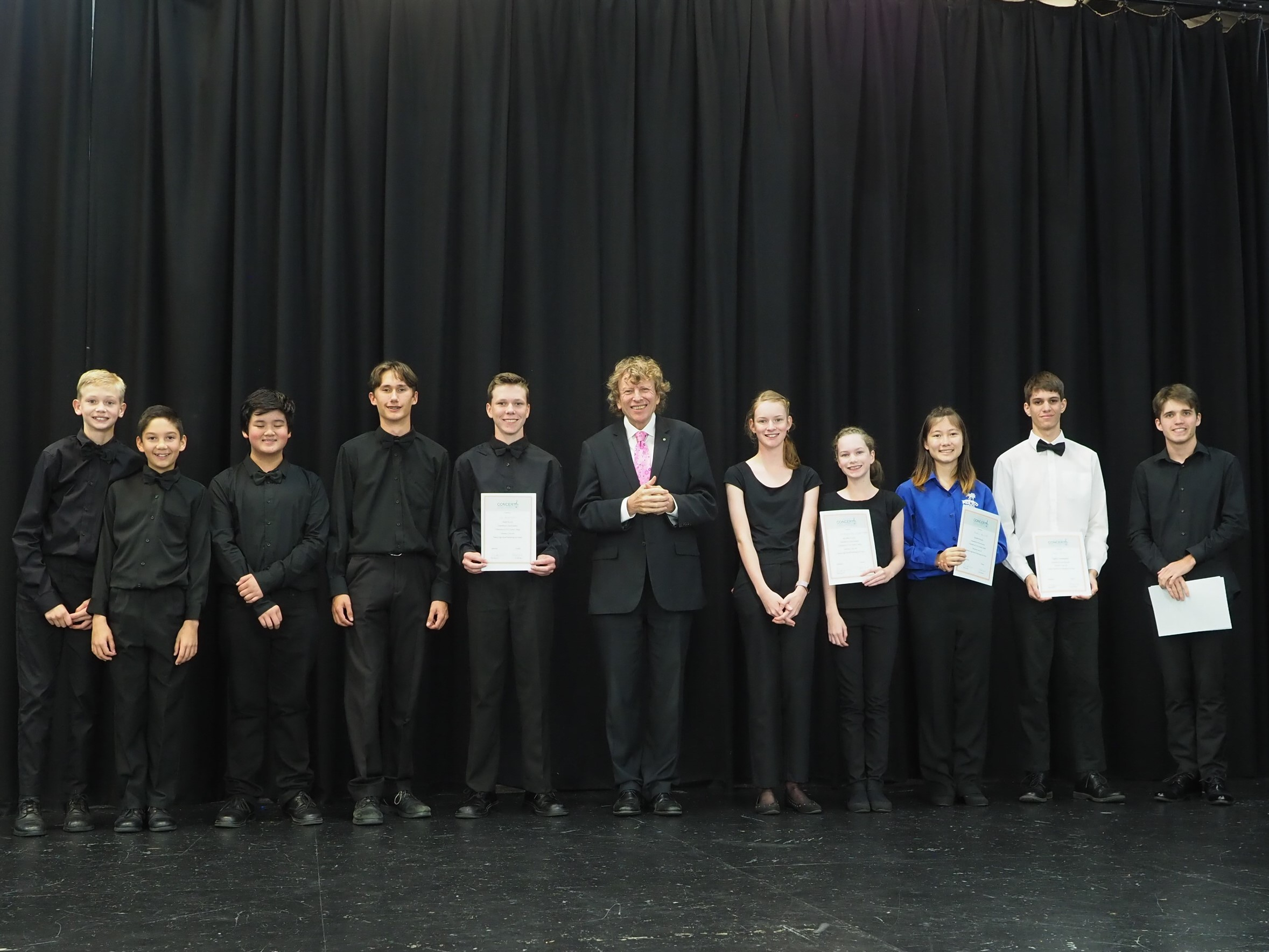 Prize winners with Piers Lane, Adjudicator